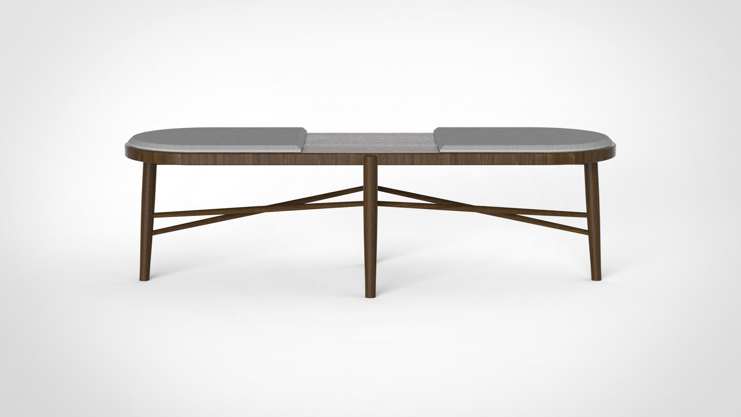 JKmilo bench - grey on walnut
