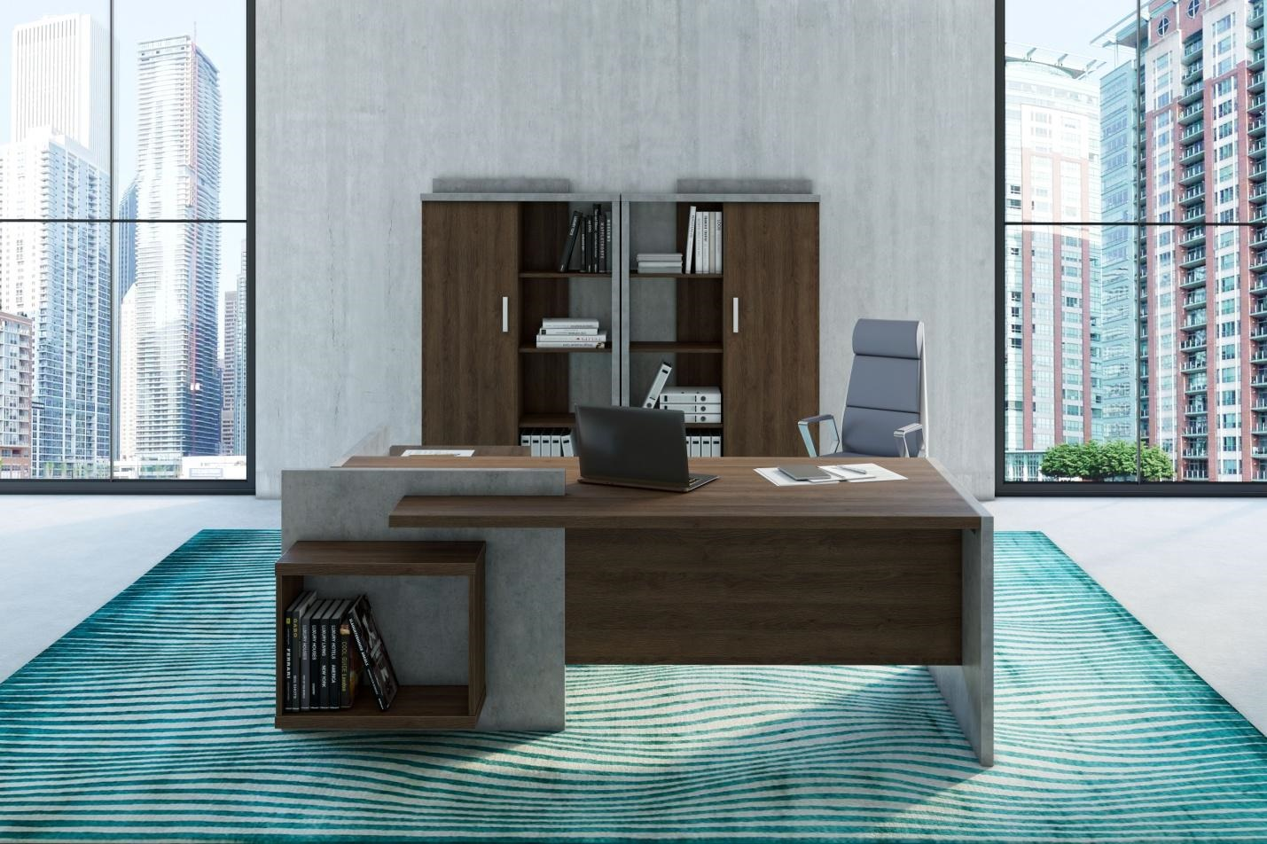 Private Office Wood and Stone by GVA Interiors